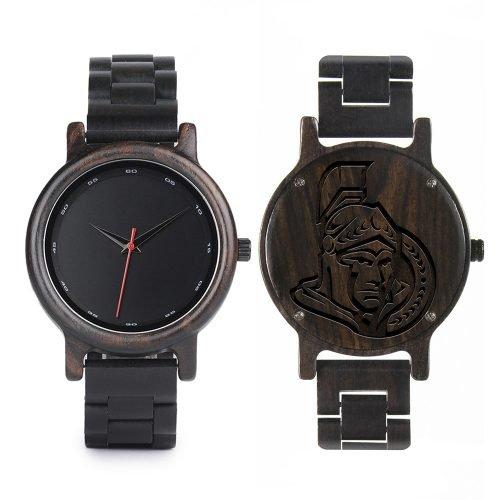 Ottawa Senators Walnut Wooden Watch | Mens Black Watch