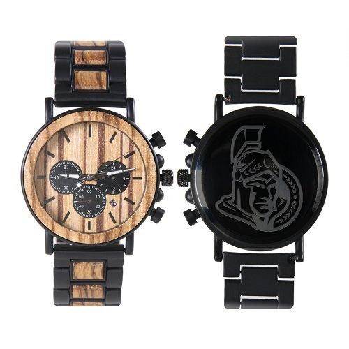 Ottawa Senators Metal and Wood Watch | Mens Titanium Chronograph Watch