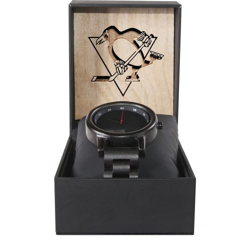 Pittsburgh Penguins Walnut Wooden Watch | Mens Black Watch