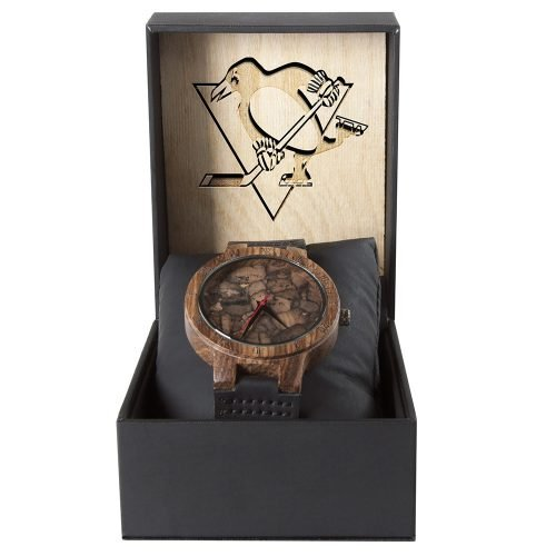 Pittsburgh Penguins Mahogany Marble Wooden Watch | Mens Minimalist Wood Watch