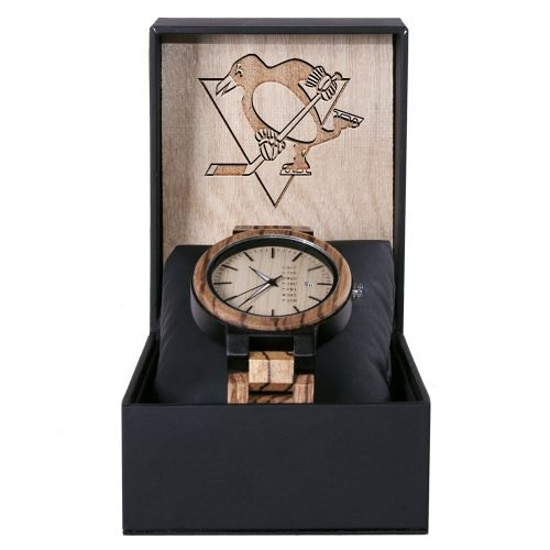 Pittsburgh Penguins Maple Wooden Watch | Wood Watch Gold Sonnet Series