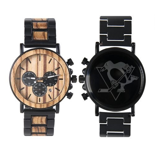 Pittsburgh Penguins Metal and Wood Watch | Mens Titanium Chronograph Watch