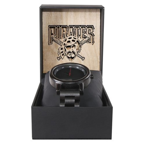 Pittsburgh Pirates Walnut Wooden Watch | Mens Black Watch