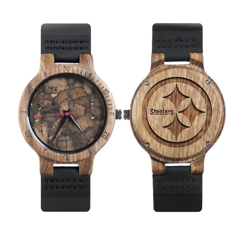 Pittsburgh Steelers Walnut Wooden Watch Mens Black Watch