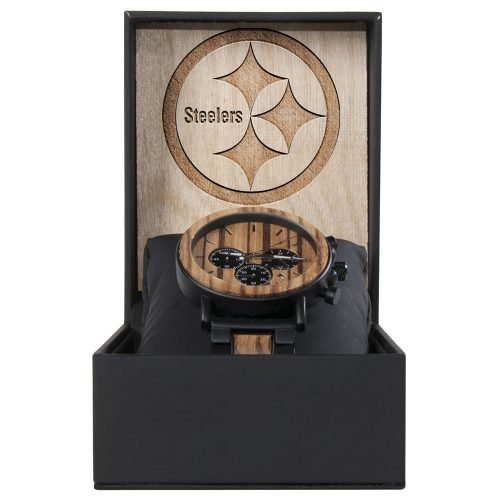 Pittsburgh Steelers Metal and Wood Watch | Mens Titanium Chronograph Watch