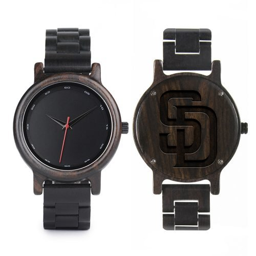 San Diego Padres Walnut Wooden Watch | Mens Black Watch