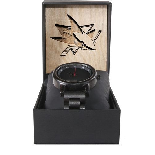 San Jose Sharks Walnut Wooden Watch | Mens Black Watch