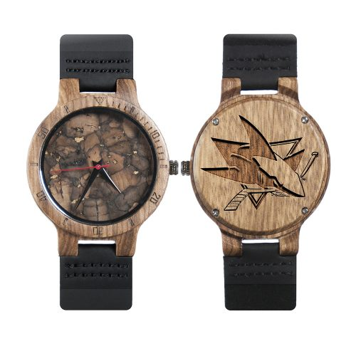 San Jose Sharks Mahogany Marble Wooden Watch | Mens Minimalist Wood Watch
