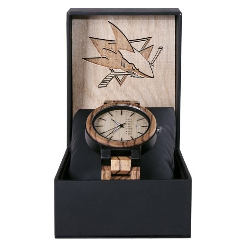 San Jose Sharks Maple Wooden Watch | Wood Watch Gold Sonnet Series