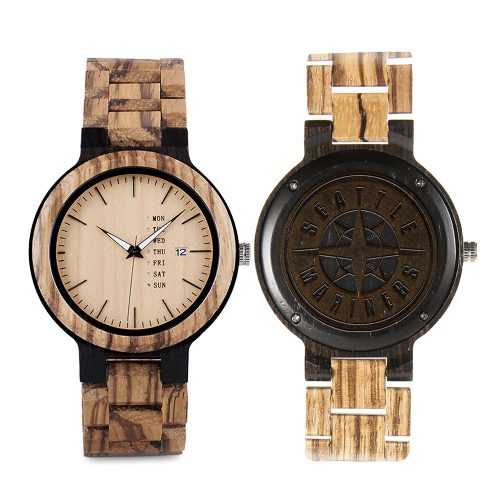 Seattle Mariners Maple Wooden Watch | Wood Watch Gold Sonnet Series