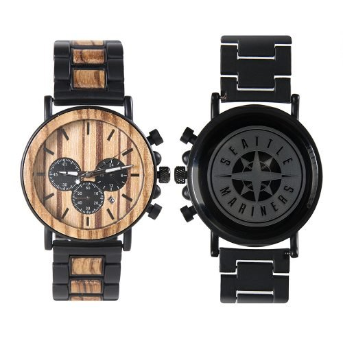 Seattle Mariners Metal and Wood Watch | Mens Titanium Chronograph Watch