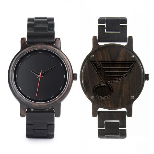 St Louis Blues Walnut Wooden Watch | Mens Black Watch