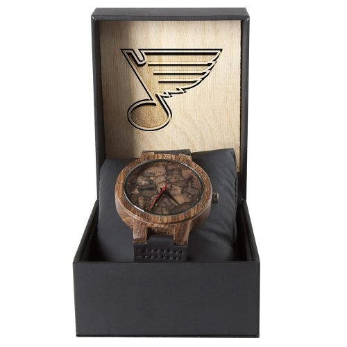 St Louis Blues Mahogany Marble Wooden Watch | Mens Minimalist Wood Watch