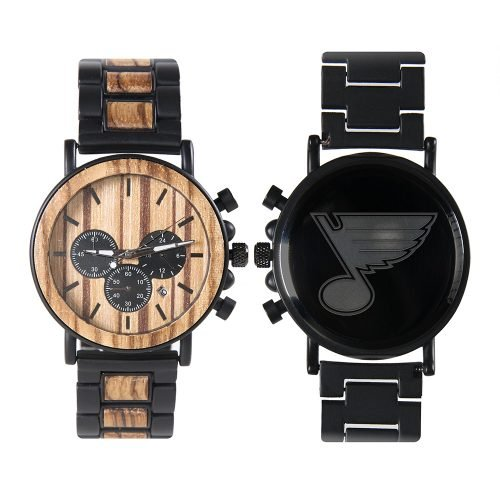 St Louis Blues Metal and Wood Watch | Mens Titanium Chronograph Watch