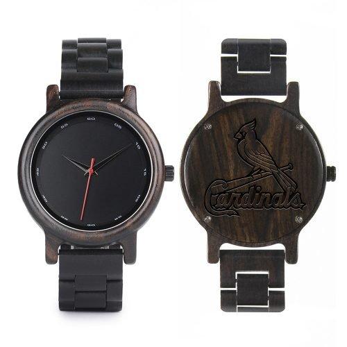 St Louis Cardinals Walnut Wooden Watch | Mens Black Watch