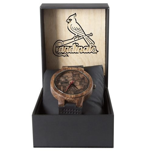 St Louis Cardinals Mahogany Marble Wooden Watch | Mens Minimalist Wood Watch