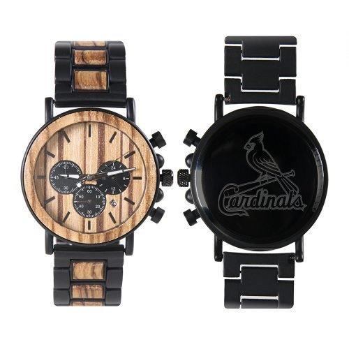 St Louis Cardinals Metal and Wood Watch | Mens Titanium Chronograph Watch