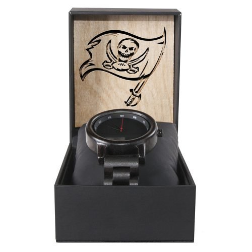 Tampa Bay Buccaneers Walnut Wooden Watch | Mens Black Watch