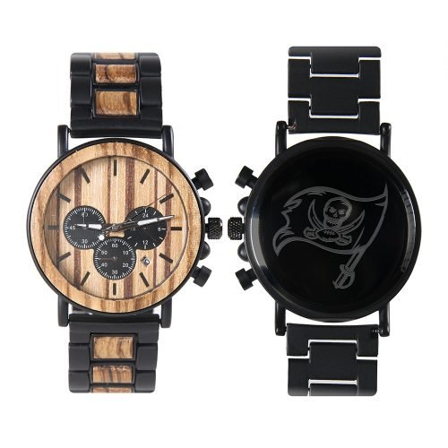 Tampa Bay Buccaneers Metal and Wood Watch | Mens Titanium Chronograph Watch