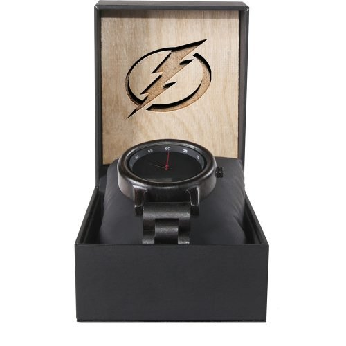 Tampa Bay Lightning Walnut Wooden Watch | Mens Black Watch