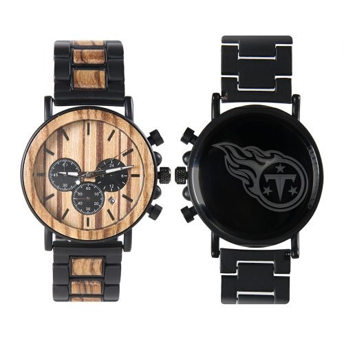 Tennessee Titans Metal and Wood Watch | Mens Titanium Chronograph Watch