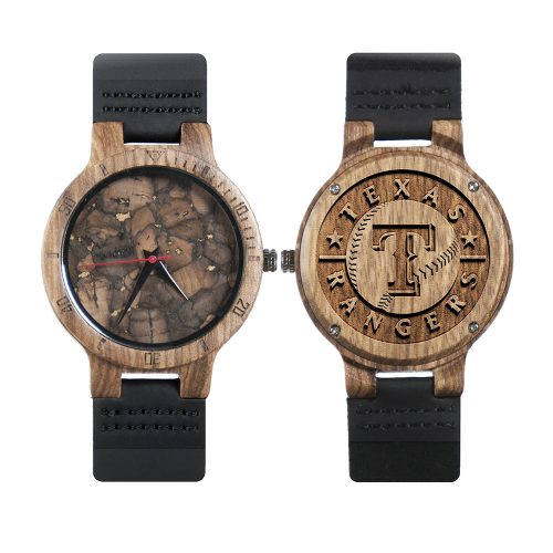Texas Rangers Mahogany Marble Wooden Watch | Mens Minimalist Wood Watch