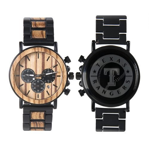 Texas Rangers Metal and Wood Watch | Mens Titanium Chronograph Watch
