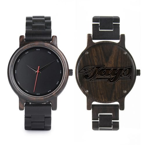 Toronto Blue Jays Walnut Wooden Watch | Mens Black Watch