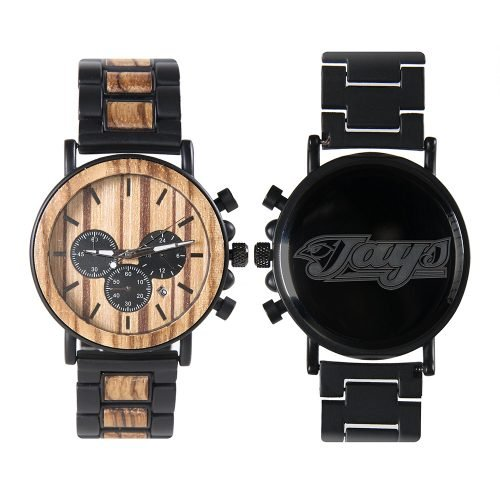 Toronto Blue Jays Metal and Wood Watch | Mens Titanium Chronograph Watch