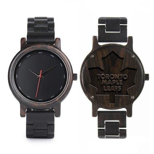 Toronto Maple Leafs Walnut Wooden Watch | Mens Black Watch