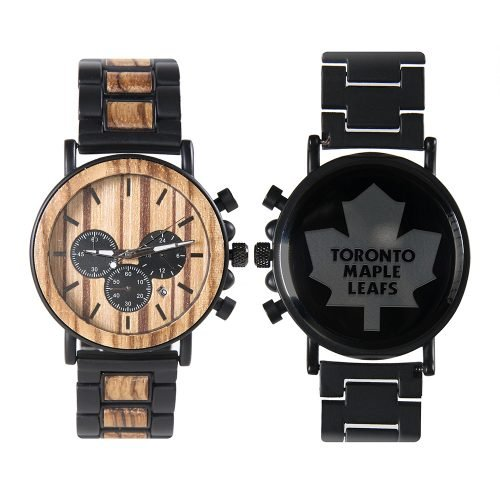 Toronto Maple Leafs Metal and Wood Watch | Mens Titanium Chronograph Watch