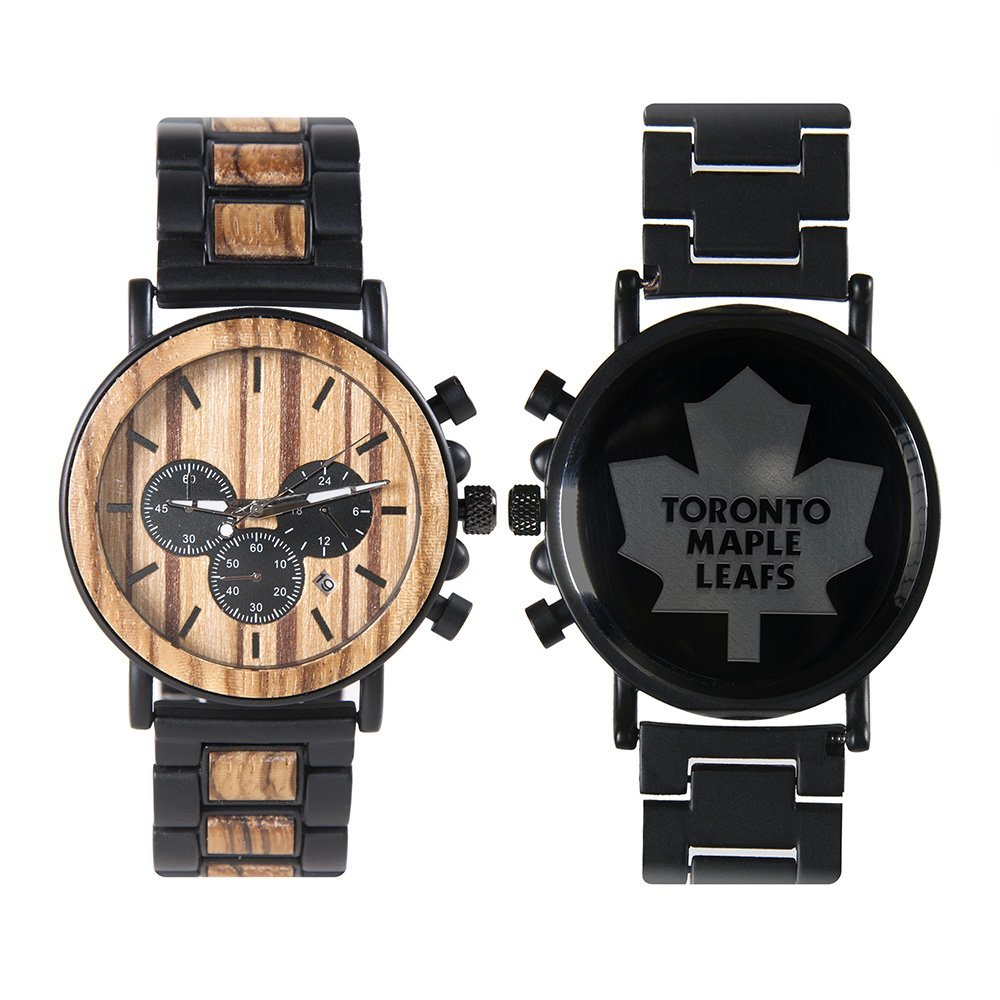 c806ed608522 NHL Toronto Maple Leafs Metal and Wood Watches – Mens Titanium Chronograph  Watch