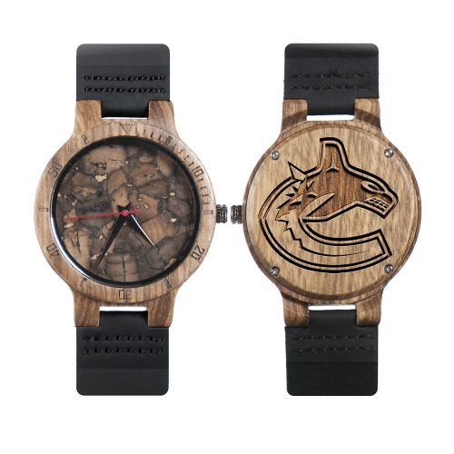 Vancouver Canucks Mahogany Marble Wooden Watch | Mens Minimalist Wood Watch