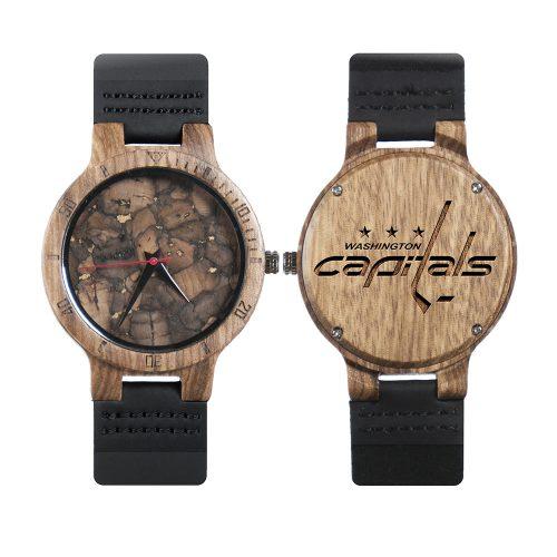 Washington Capitals Mahogany Marble Wooden Watch | Mens Minimalist Wood Watch