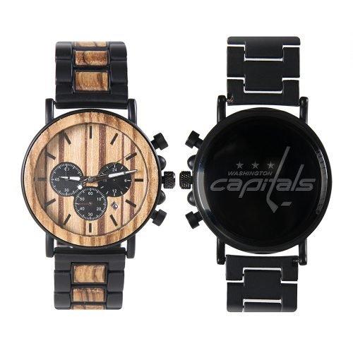 Washington Capitals Metal and Wood Watch | Mens Titanium Chronograph Watch