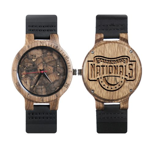 Washington Nationals Classic Mahogany Marble Wooden Watch | Mens Minimalist Wood Watch