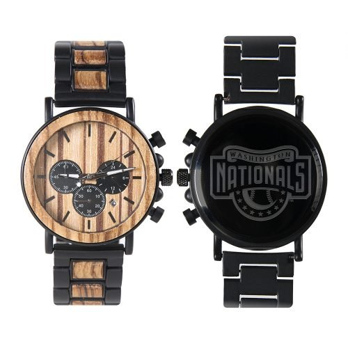Washington Nationals Classic Metal and Wood Watch | Mens Titanium Chronograph Watch