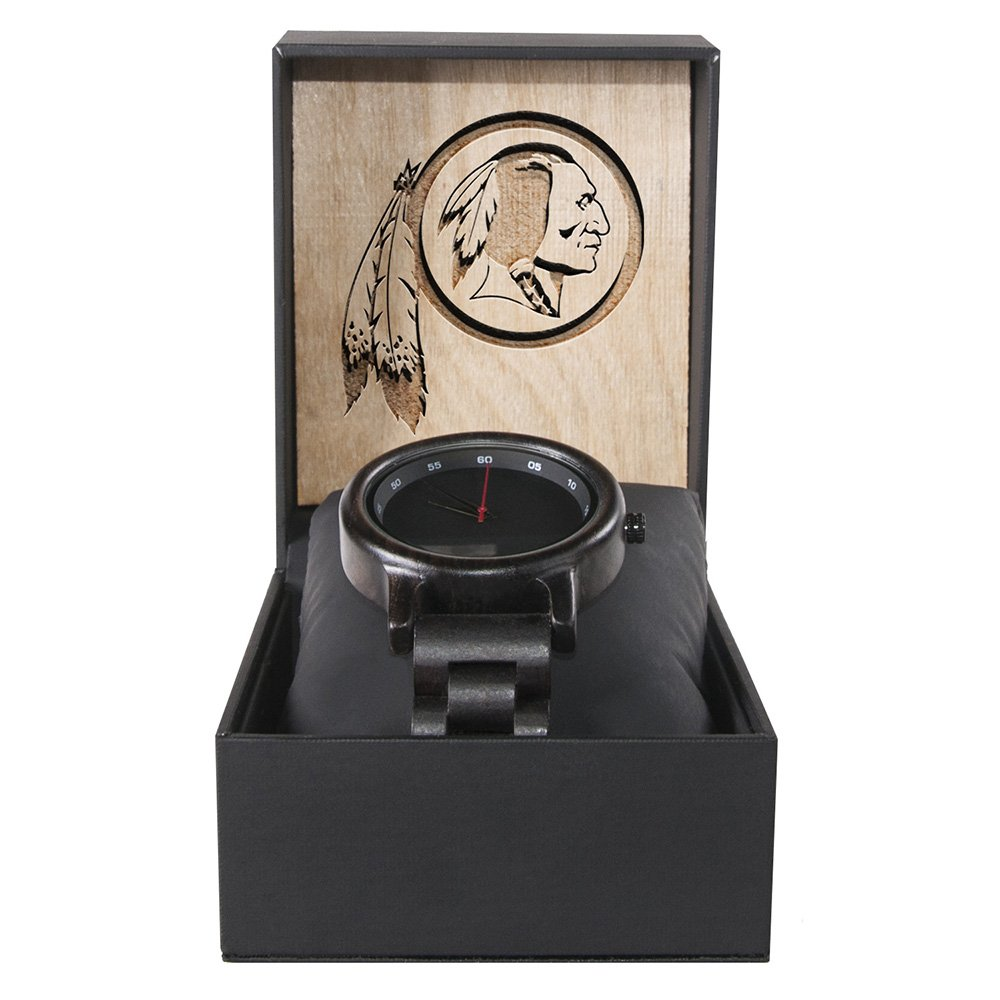 Washington Redskins Walnut Wooden Watch | Mens Black Watch