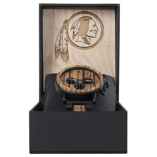 Washington Redskins Metal and Wood Watch | Mens Titanium Chronograph Watch