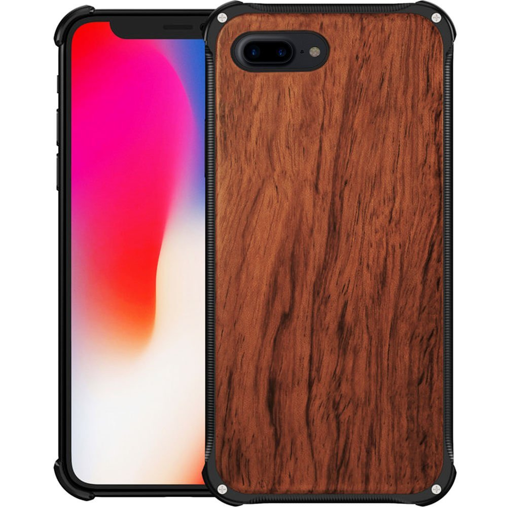factory authentic bca06 7023c iPhone 8 Plus Aluminum Metal Case, Anti-Shock Wood Cover
