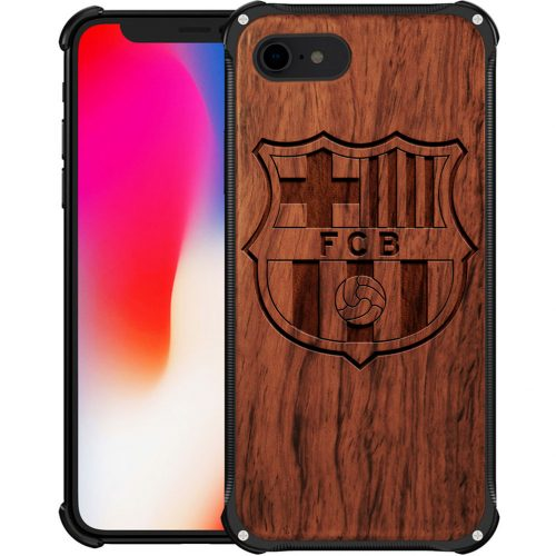 Wooden and Metal Wooden FC Barcelona iPhone 7 Case - Hybrid Metal and Wood Cover Lionel Messi Cover