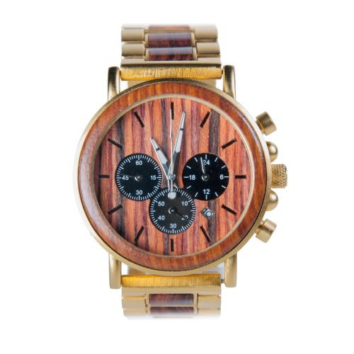 Gold Xhron Series Metal And Mahogany Wood Watch Best Unique Wood Watch Best Mens Wood Watch