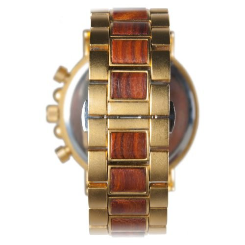Gold Xhron Series Metal And Mahogany Wood Watch Best Unique Wood Watch Best Mens Wood Watch Back