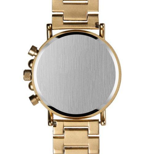 Gold Xhron Series Metal And Mahogany Wood Watch Best Unique Wood Watch Best Mens Wood Watch Back Plate