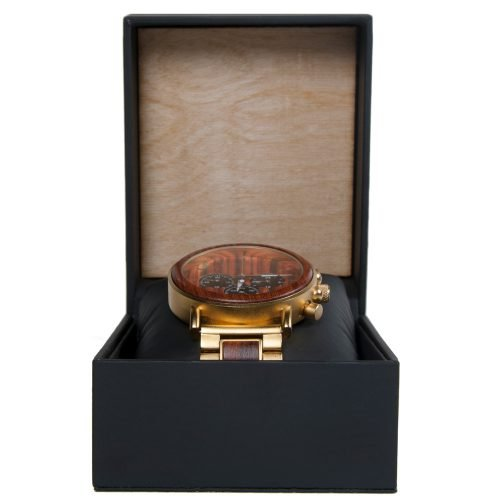 Gold Xhron Series Metal And Mahogany Wood Watch Best Unique Wood Watch Best Mens Wood Watch Box Front