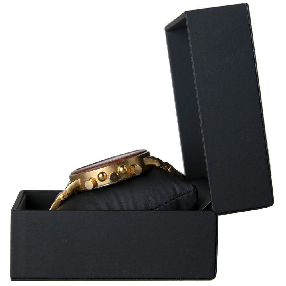 Gold Xhron Series Metal And Mahogany Wood Watch Best Unique Wood Watch Best Mens Wood Watch Box Side