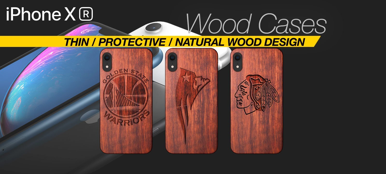 Handcrafted Wood iPhone XR Case Best Wood iPhone XR Cover Real Wood Slim Wood iPhone XR
