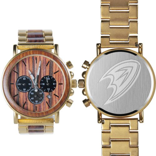 NHL Anaheim Ducks Gold Metal and Wood Watch - Wrist Watch