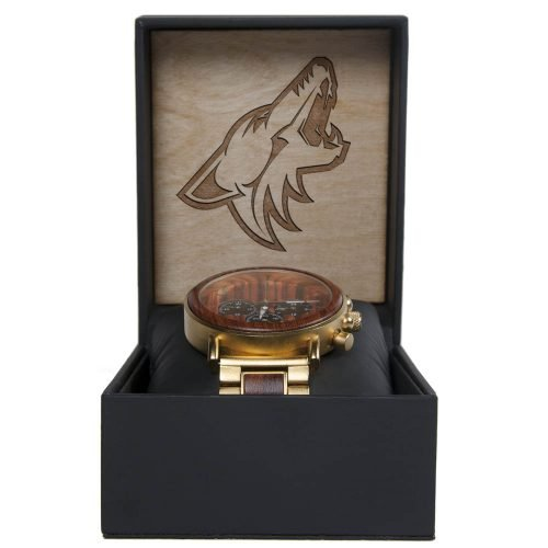 NHL Arizona Coyotes Gold Metal and Wood Watch - Wrist Watch