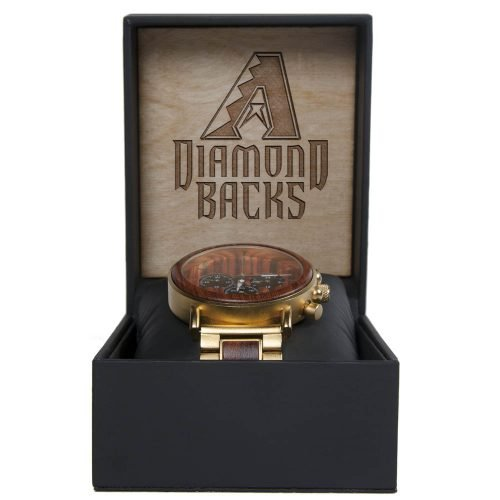 MLB Arizona Diamondbacks Gold Metal and Wood Watch - Wrist Watch